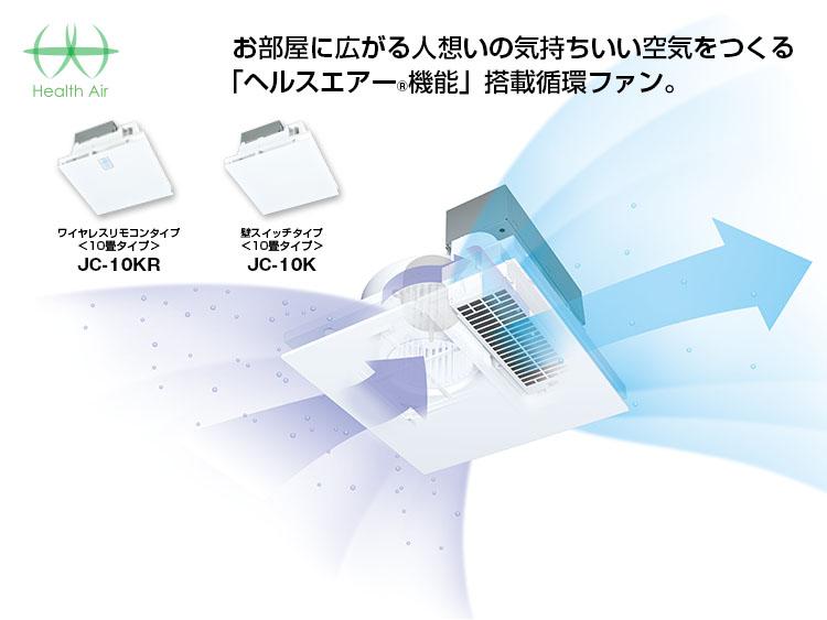 「ヘルスエアー®機能」で24時間清潔な空気にする天井埋込型循環ファン。